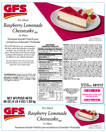 Cases of cheesecakes sold at GFS recalled due to allergen