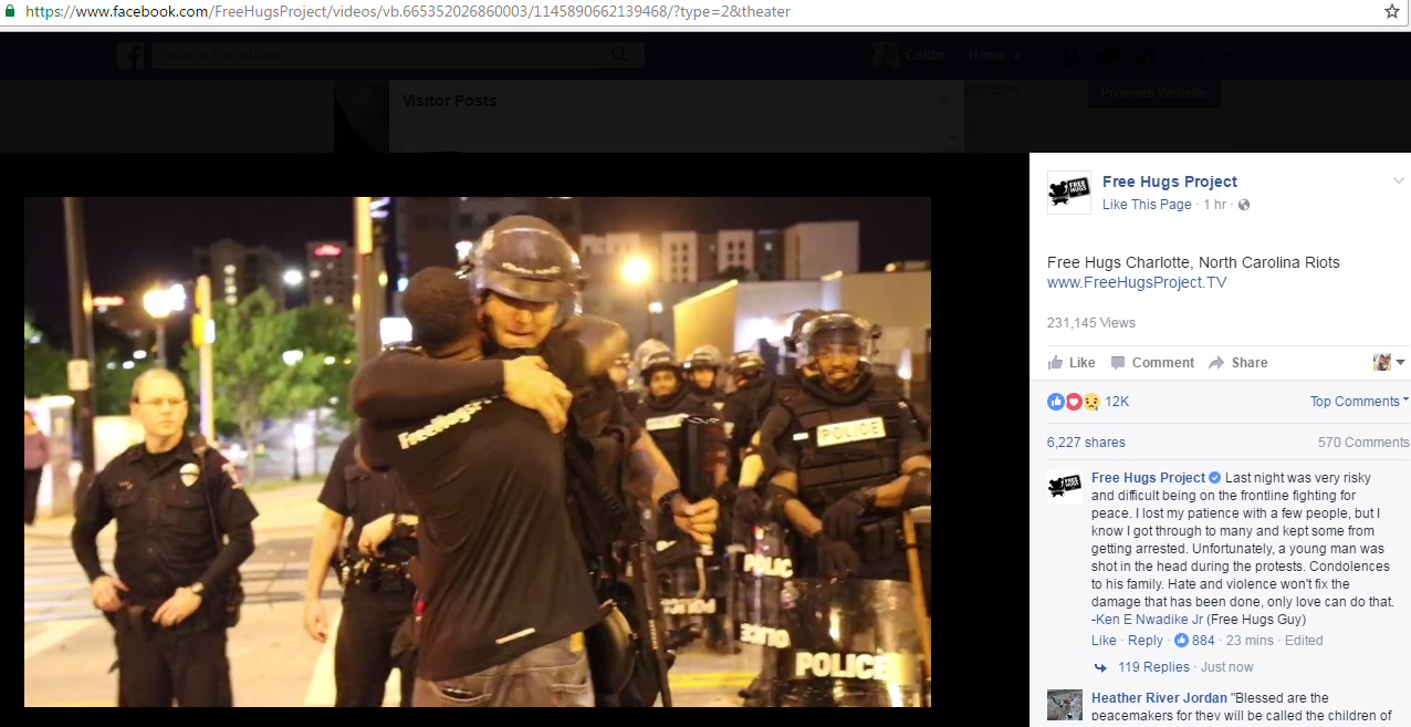 Man Gives 'Free Hugs' To Charlotte Officers During Protests | 13NEWSNOW.com