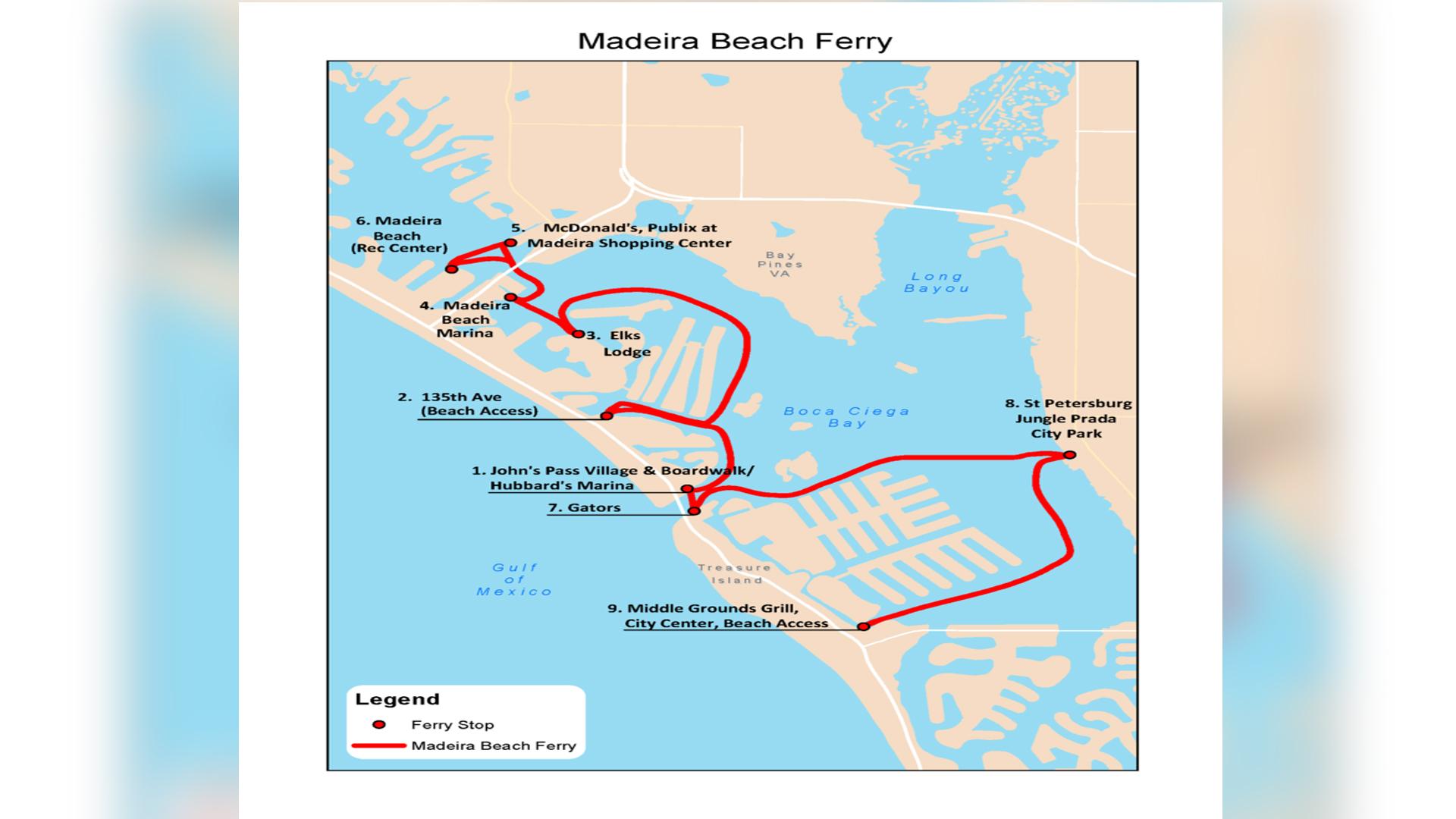 Madeira Beach Water Taxi Starts Service Saturday WTSPcom - Florida map madeira beach