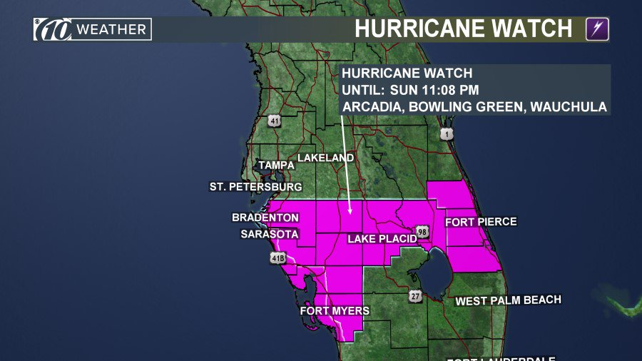 hurricane watch includes sarasota and manatee counties